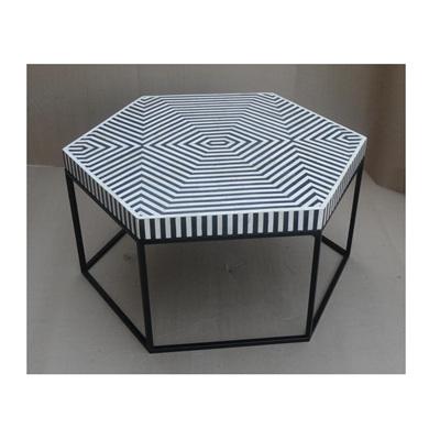 Afranz Bone Inlay Coffee Table - Black & White - 92cmd
