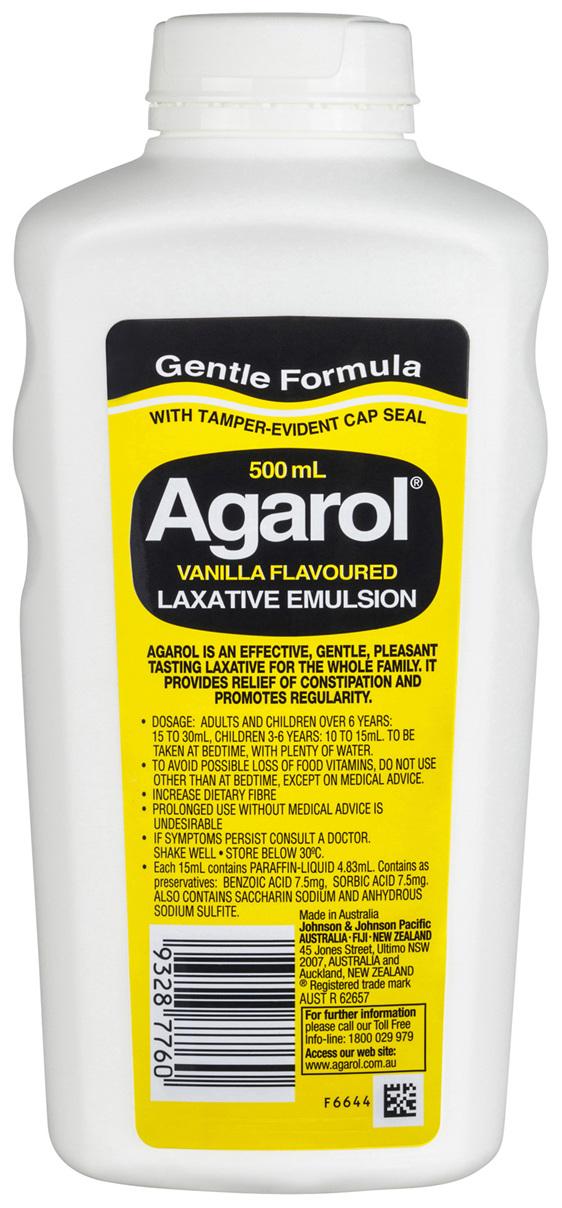 Agarol Vanilla Laxative Liquid 500mL