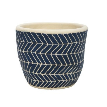 Ahoy Planter - Navy & White - 12.5cmh