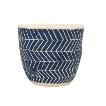 Ahoy Planter - Navy & White - 16cmh
