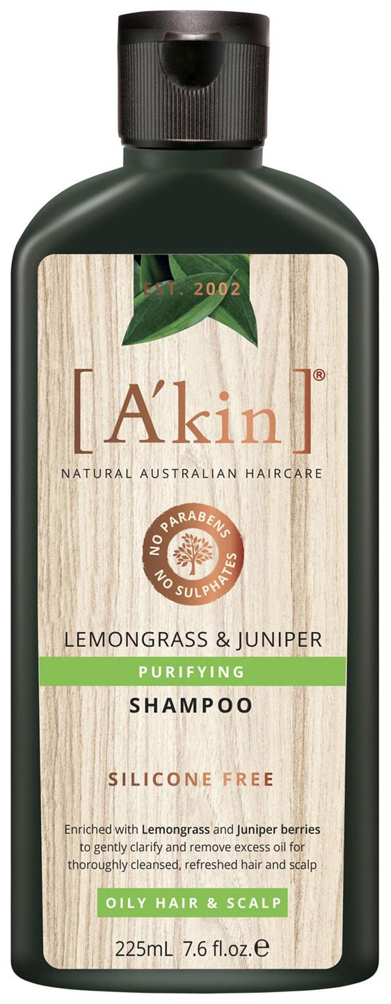 A'kin Purifying Lemongrass & Juniper Shampoo 225mL