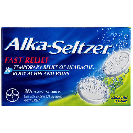 Alka-Seltzer Pain Relief Effervescent Tablets Lemon-Lime 20 Pack