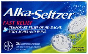 Alka-Seltzer Pain Relief Effervescent Tablets Lemon-Lime 20 Pack