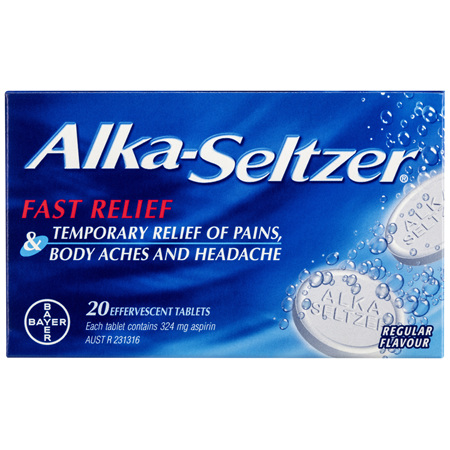 Alka-Seltzer Pain Relief Effervescent Tablets Regular Flavour 20 Pack