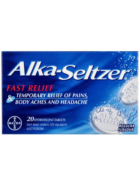 Alka-Seltzer Pain Relief Effervescent Tablets Regular Flavour 20 Pack