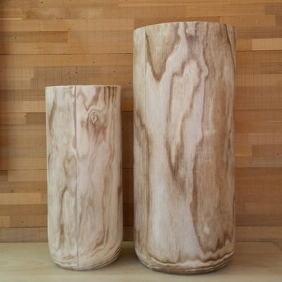 Amalfi Carved Wood Vase - Natural