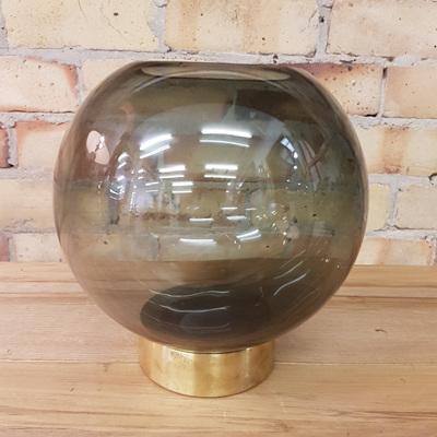 Amara Glass Vase W Brass Base - Smoke Grey