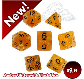 Amber Glitter with Black Dice