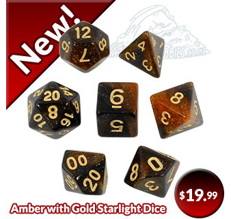 Amber with Gold Starlight Polyhedral Dice Games and Hobbies New Zealand