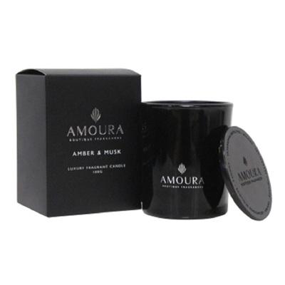 Amoura Ebony Luxury Candle Sml - Amber & Musk