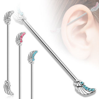 Angel Wing CZ Gem Industrial Bar
