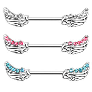 Angel Wing CZ Lined  Nipple Bar