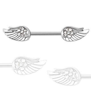 Angel Wing CZ Paved Nipple Bar