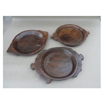 Antique Wooden Parat Bowl 2 Handle - Polished