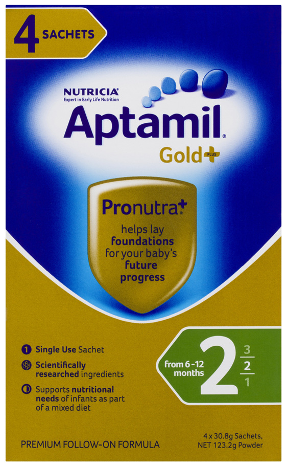 Aptamil Gold+ 2 Pronutra Biotik Baby Follow-On Formula Sachets From 6-12 Months 4 Pack 30.8g