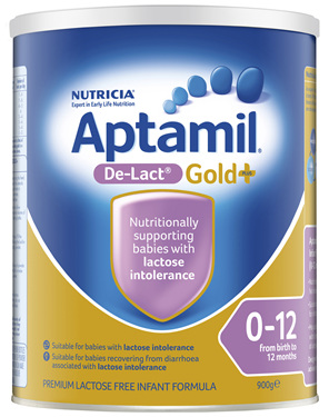 Aptamil Gold+ De-Lact Baby Infant Formula Lactose Free From Birth to 12 Months 900g