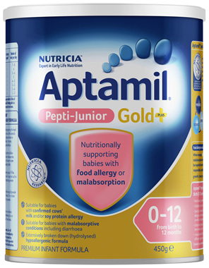 Aptamil Gold+ Pepti Junior For Babies With Food Allergy or Malabsorption From Birth to 1 Year 450g