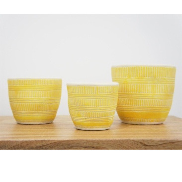 Ari Planter - Saffron & White - 12.5cmh
