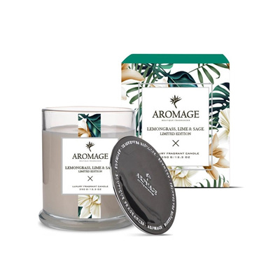 Aromage Fragrant Candle - Lmngrass,Lime & Sage (L)