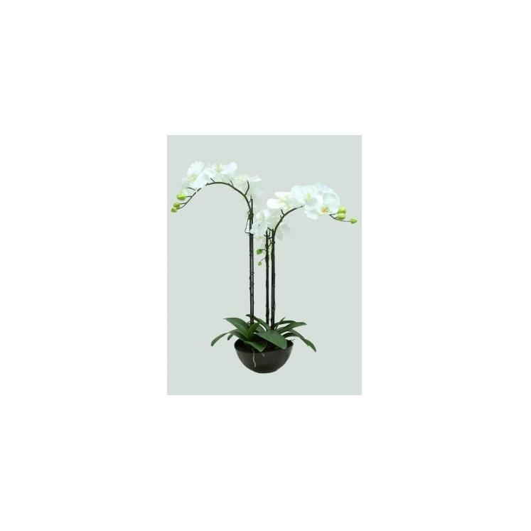 Artificial Orchid With 3 Stems In Black Pot - 65cmh