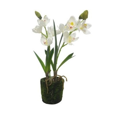 Artificial White Dancing Orchid With 2 Stems In Ceramic Pot - 54cmh