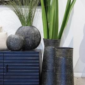 Asana Metal Vase - Black Wash - 97cmh