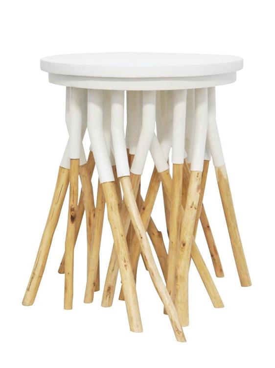 Asha Metal And Wood Side Table - White - 40x45cmh