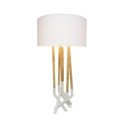 Asha Metal and Wood Table Lamp - White 75cmh
