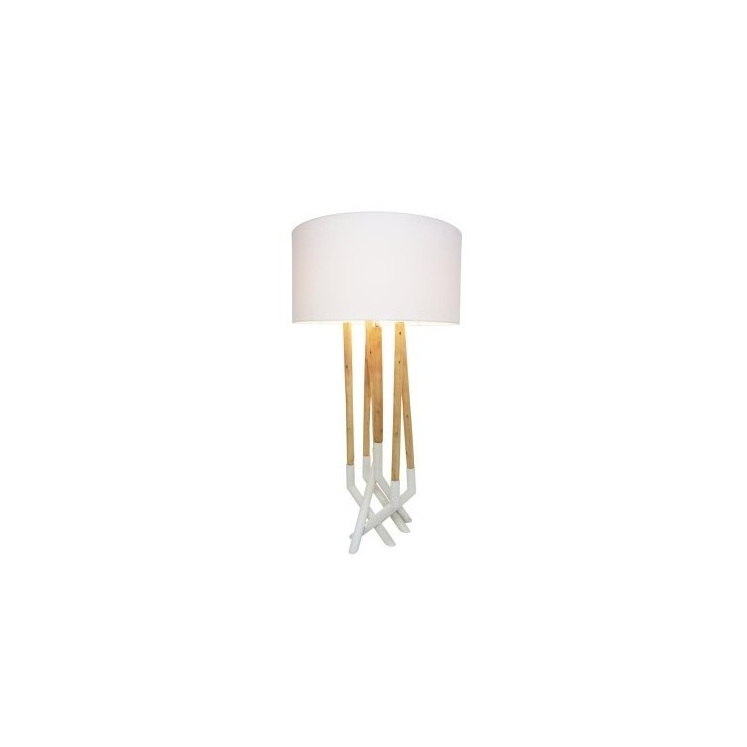 Asha Metal and Wood Table Lamp - White 75cmh