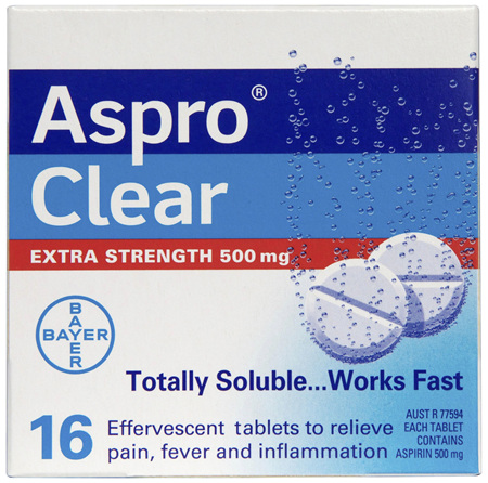 Aspro Clear Extra Strength Pain Relief 16 Soluble Effervescent Tablets