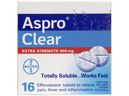Aspro Clear Extra Strength Pain Relief Aspirin 16 Soluble Effervescent Tablets