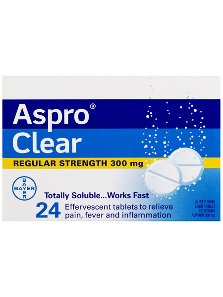 Aspro Clear Pain Relief Aspirin 24 Soluble Effervescent Tablets