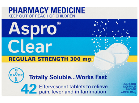 Aspro Clear Pain Relief Aspirin 42 Soluble Effervescent Tablets