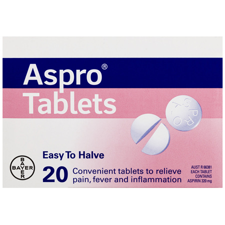 Aspro Clear Pain Relief Aspirin Easy To Halve 20 Tablets