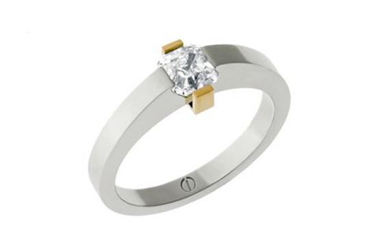 Asscher cut diamond platinum and yellow gold ring