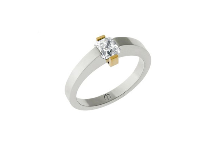 Asscher cut diamond platinum and yellow gold ring