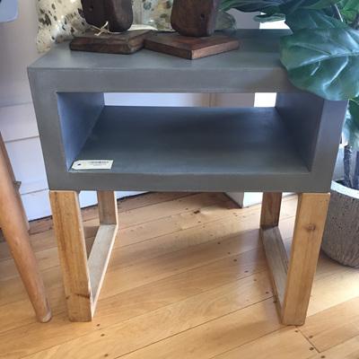 August Concrete Look Open Bedside Table