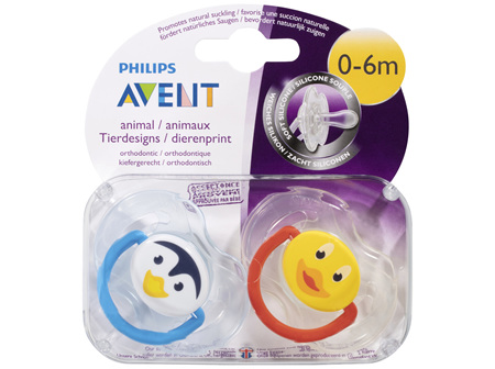 Avent Animal Soft Silicone BPA Free Soother 0-6m 2 Pack