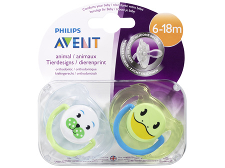 Avent Animal Soft Silicone BPA Free Soother 6-18m 2 Pack