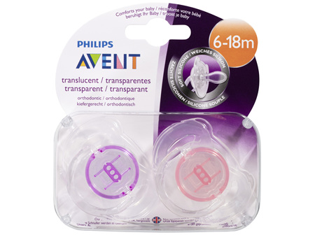 Avent Translucent Soft Silicone BPA Free Soother 6-18m 2 Pack