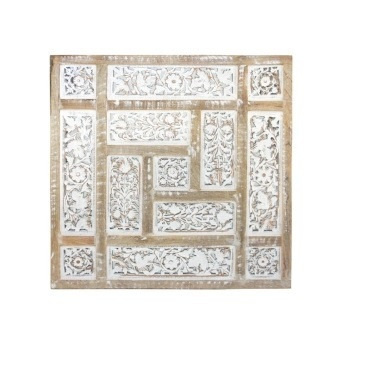 Aziza Carved Wood Panel with Mirror Backing