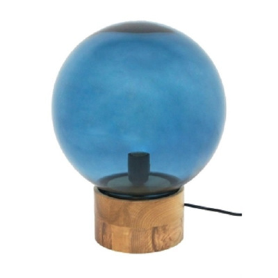 Azure Glass Table Lamp Blue W Wooden Base 38cm