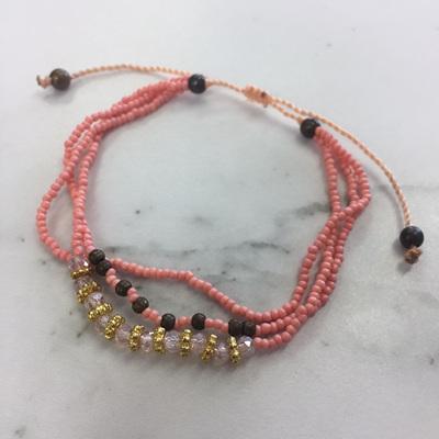 Baby Crystal Stack Bracelet - Peach