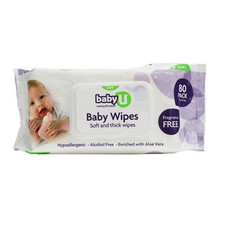 Baby U Hypoallergenic Alcohol Free Wipes 80