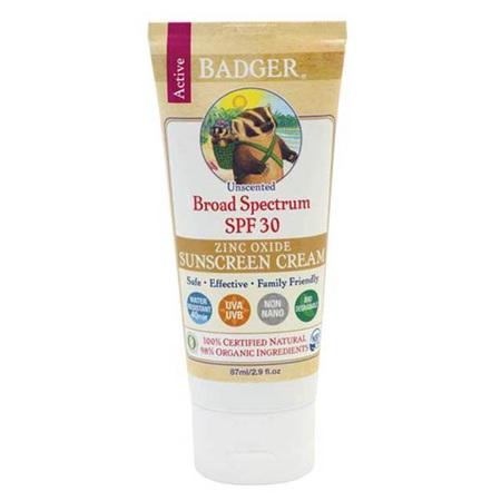 Badger SPF30 Sunscreen Unscented 82.2gm