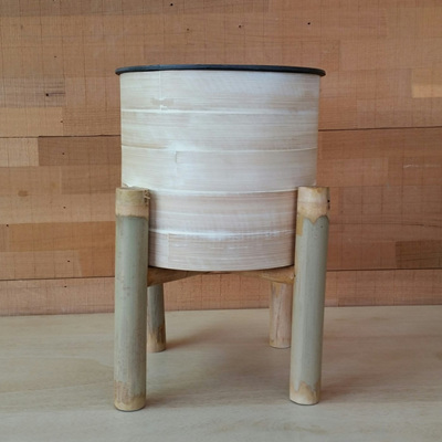 Bamboo Planter On Stand - Natural - 28cmh