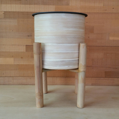 Bamboo Planter On Stand - Natural - 38cmh