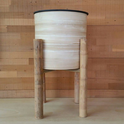Bamboo Planter On Stand - Natural - 46cmh