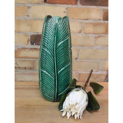 Banana Palm Leaf Vase - Green - Medium