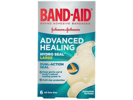 Band-Aid Advanced Healing Hydro Seal Gel Plasters Large 6 Pack